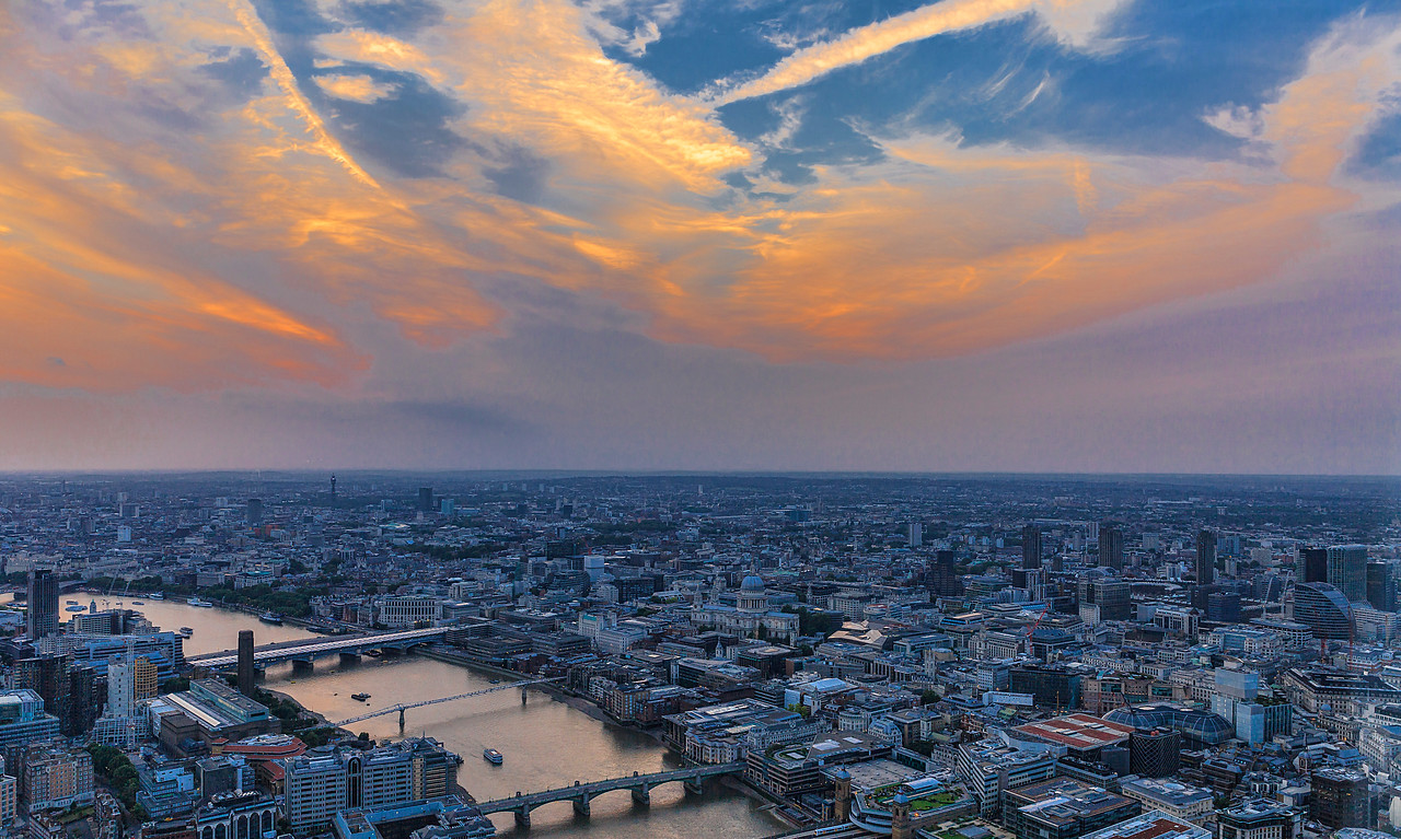 A view of the Thames and London from the Shard Building's 82nd floor